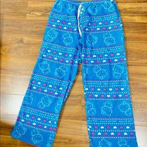 Women's Hello Kitty Blue Plush Minky Pajama Pant